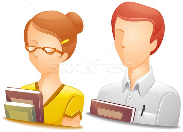 Tanár vágási körvonal iskola szemüveg vektor tanár Stock fotó © lenm
