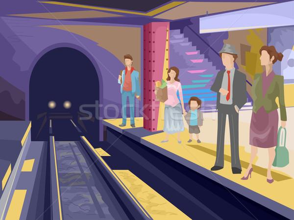 Métro gare illustration passagers attente homme Photo stock © lenm