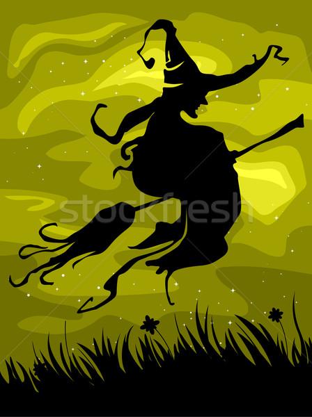 Strega silhouette battenti manico di scopa design poster Foto d'archivio © lenm