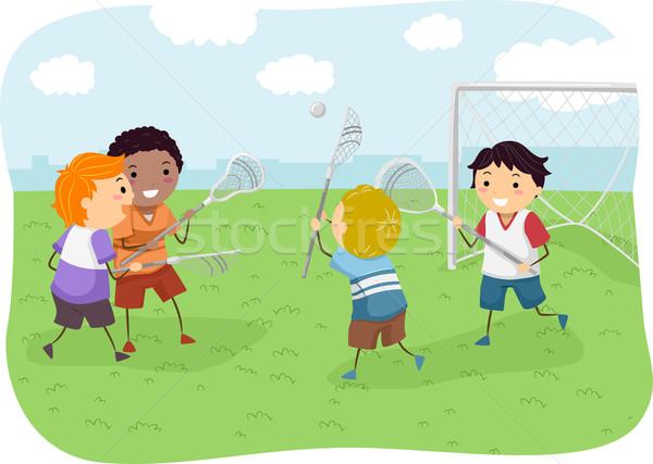 Stickman Boys Lacrosse Stock photo © lenm