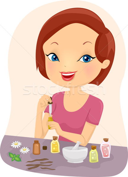 Fille illustration huiles essentielles affaires femme Photo stock © lenm