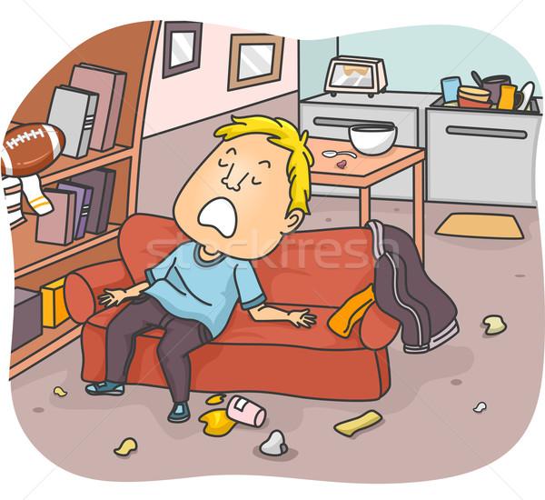 спальный Бум иллюстрация человека диван мусор Сток-фото © lenm