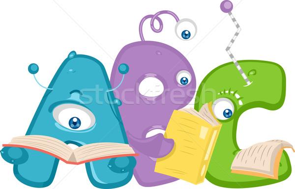 Leitura bonitinho ilustração como cartas Foto stock © lenm
