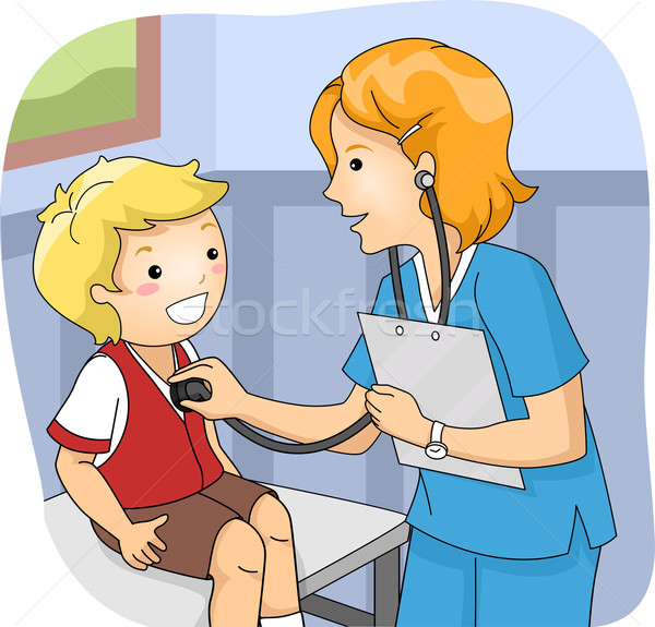 Kid Boy Check Up Stethoscope Stock photo © lenm