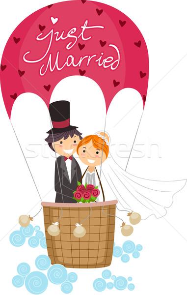 Ilustração recém-casados balão de ar quente mulher casamento Foto stock © lenm