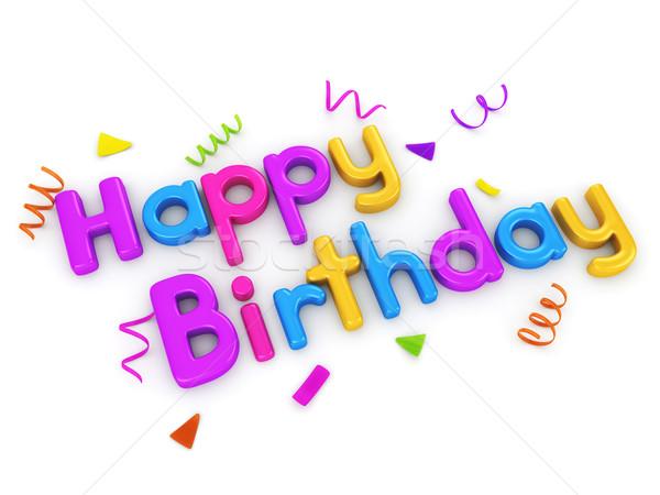 С Днем Рождения 3D типографики слов празднования конфетти Сток-фото © lenm