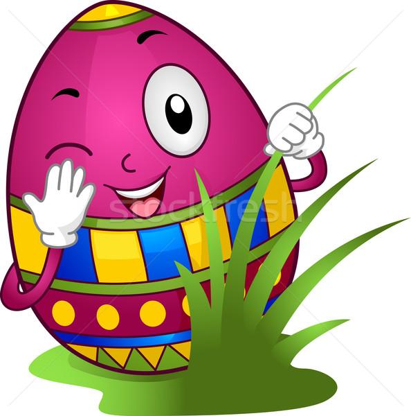 Easter egg hunt örnek easter egg gizleme arkasında bahar Stok fotoğraf © lenm