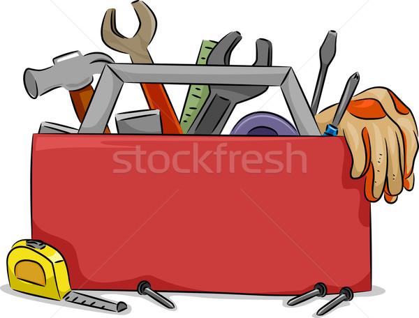 Caixa de ferramentas conselho ilustração vermelho carpintaria ferramentas Foto stock © lenm