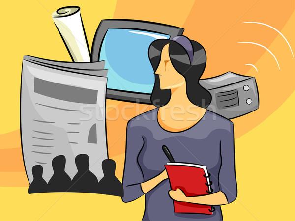 Kobieta dziennikarz cartoon ilustracja dziewczyna student Zdjęcia stock © lenm