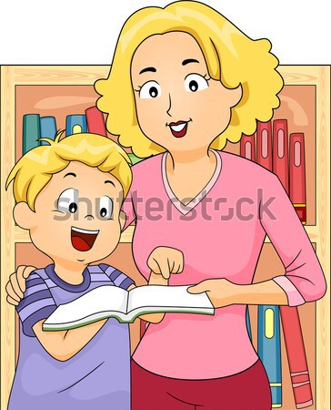 Mom Teaching Daughter Stock photo © lenm