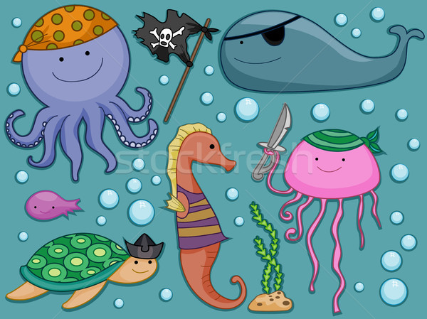 Underwater Pirates Design Elements Stock photo © lenm