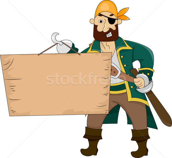 Pirate holding a Blank Board Stock photo © lenm