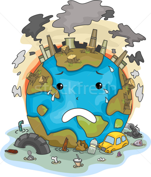 Crying Earth Due to Pollution Stock photo © lenm