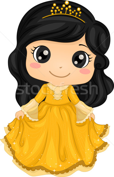 Princesse costume illustration cute petite fille Photo stock © lenm