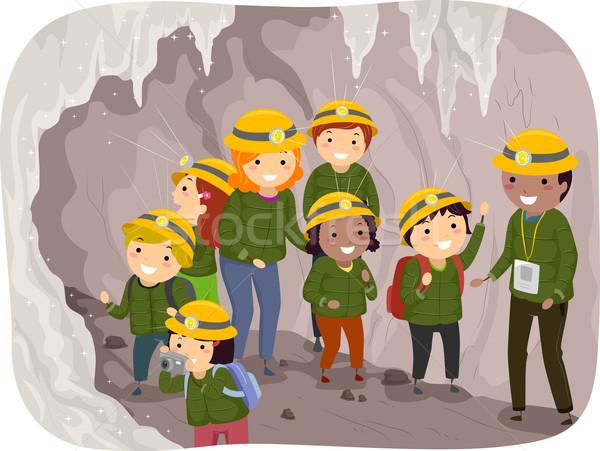Foto stock: Caverna · tour · crianças · ilustração · menina