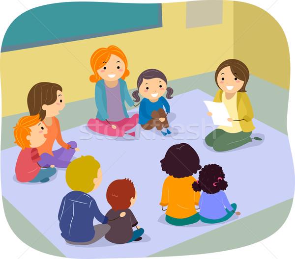 Szülők gyerekek osztály tevékenység illusztráció nő Stock fotó © lenm