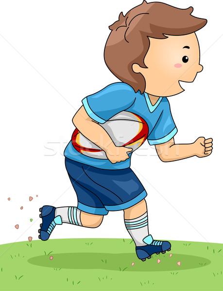 регби мальчика иллюстрация Gear работает спортивных Сток-фото © lenm
