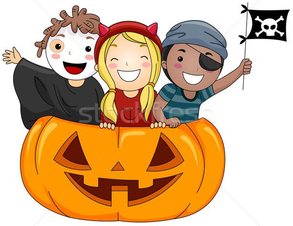 Halloween çocuk örnek çocuklar ayakta Stok fotoğraf © lenm