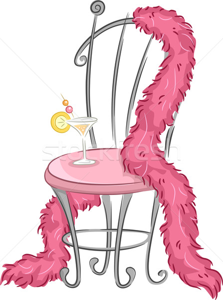 Pelliccia party illustrazione sedia rosa piuma Foto d'archivio © lenm