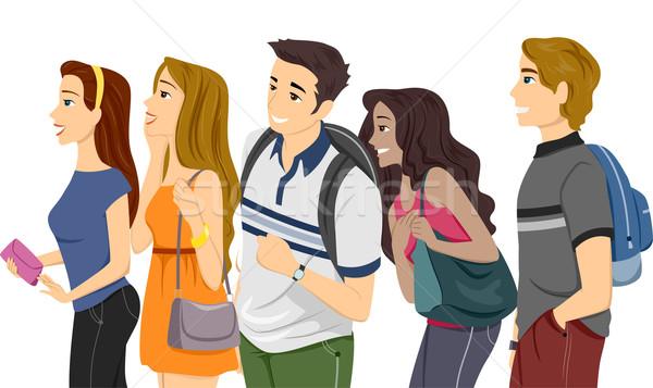 Teenage College Students Line Stock photo © lenm
