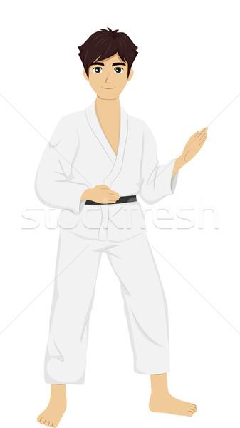 Adolescente tipo judo ilustración uniforme Foto stock © lenm
