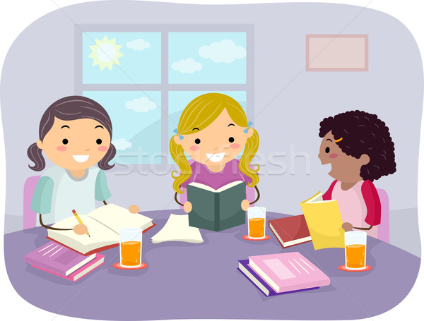 Criancas Grupo Estudar Meninas Ilustracao Estudar