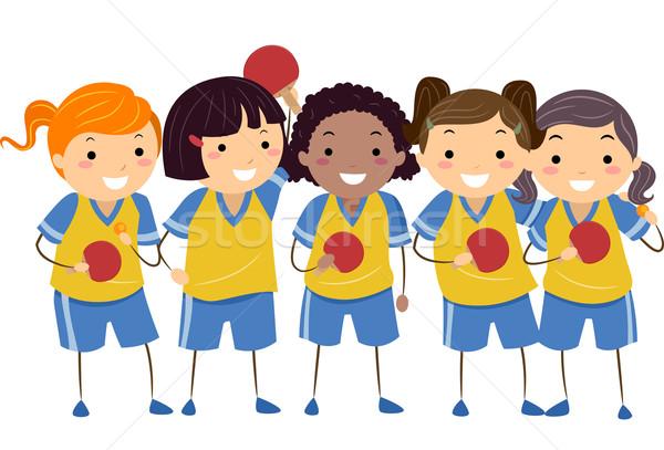 çocuklar masa tenisi kızlar örnek üniforma Stok fotoğraf © lenm