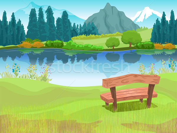 Bench Lake Mountain Scene Stock photo © lenm