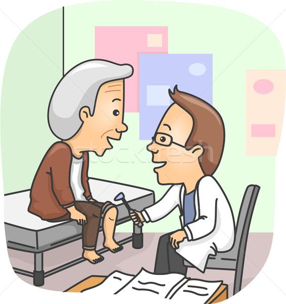 Starszy człowiek kolano sprawdzić w górę ilustracja Zdjęcia stock © lenm