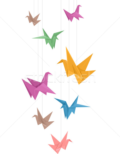 Grue origami design illustration papier différent Photo stock © lenm
