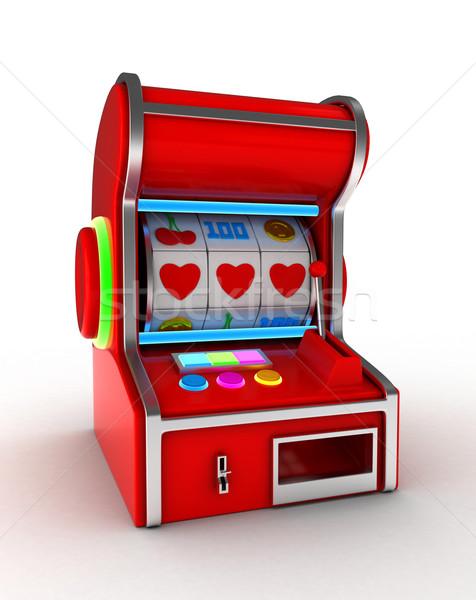 Játékautomata illusztráció kombináció három szívek szeretet Stock fotó © lenm