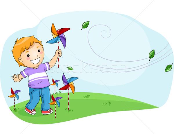 Kid Boy Pinwheel Stock photo © lenm