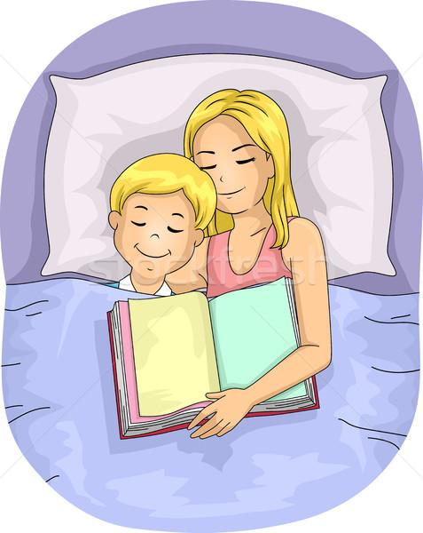 Anya gyerek fiú ágy alszik könyv Stock fotó © lenm