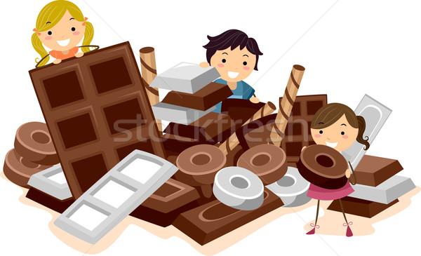 Chocolate Kids Stock photo © lenm
