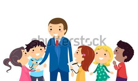 Dzieci ilustracja zespołu szkoły chłopca Zdjęcia stock © lenm