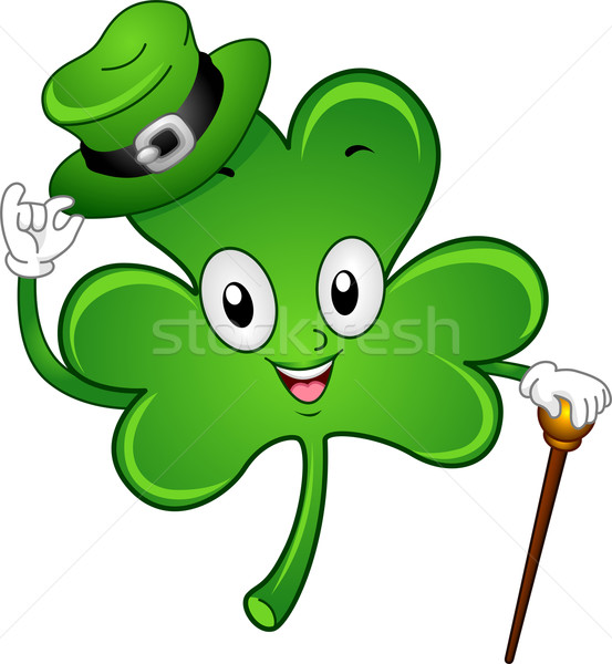 Shamrock mascotte illustration vacances isolé clipart Photo stock © lenm