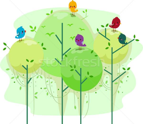 Aves ilustração árvores pássaro celebração ambiente Foto stock © lenm