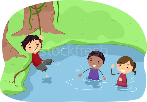 Játszik folyó illusztráció gyerekek gyermek jókedv Stock fotó © lenm