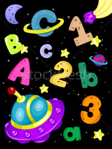 Uzay boşluğu alfabe örnek sayılar harfler ay Stok fotoğraf © lenm