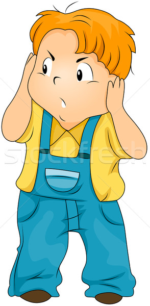 Kid Covering his Ears Stock photo © lenm