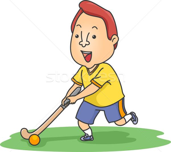 Gyeplabda játékos illusztráció mozog labda sport Stock fotó © lenm