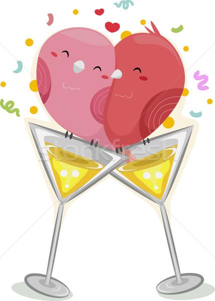 Lovebirds Wineglass Stock photo © lenm