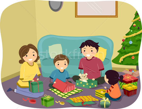 Christmas Gifts Family Stock photo © lenm