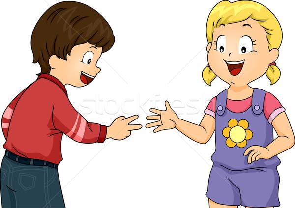 Kő papír olló illusztráció kicsi gyerekek játszanak Stock fotó © lenm