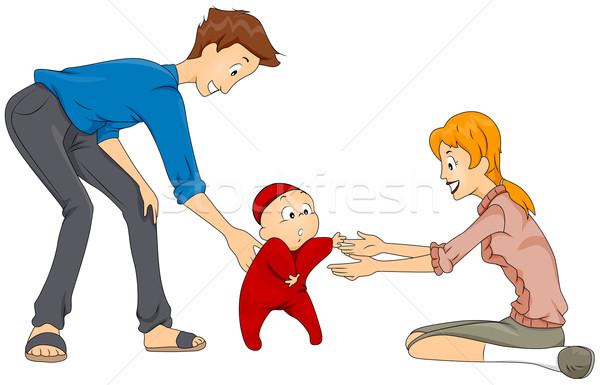 Stockfoto: Eerste · stappen · baby · stap · kind