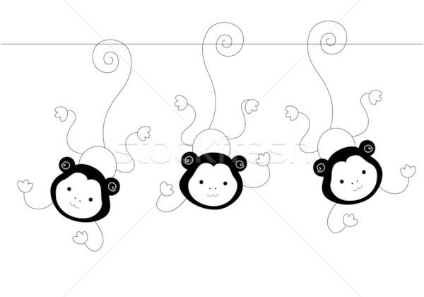 Três macacos preto e branco projeto preto Foto stock © lenm