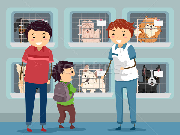 Cão abrigo visitar ilustração família criança Foto stock © lenm