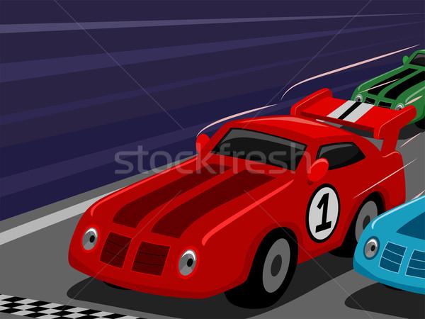 автомобилей Racing иллюстрация болид вниз ипподром Сток-фото © lenm