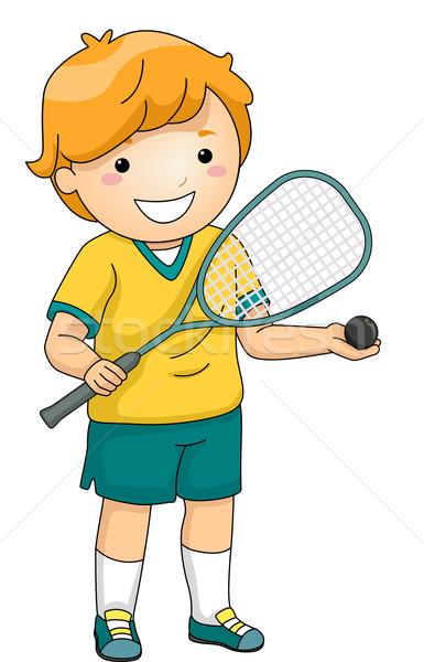 スカッシュ プレーヤー 実例 小さな 少年 デジタル ストックフォト © lenm