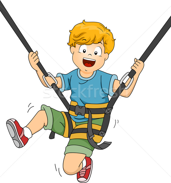 Trampoline jongen illustratie af kunst leuk Stockfoto © lenm